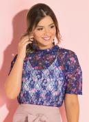 Blusa Floral Azul com Transparência
