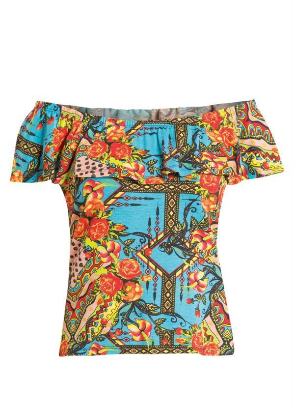 Blusa (Floral) com Decote Ombro a Ombro Quintess