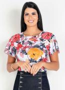 Blusa Floral Com Faixa no Decote Moda Envangélica