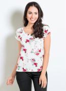 Blusa Floral com Manga Curta e Decote Redondo
