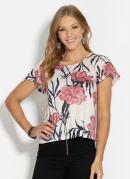 Blusa Floral com Mangas Curtas