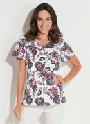 Blusa Floral com Recorte Central Costas Quintess