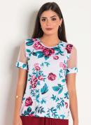 Blusa Floral com Tule Moda Evangélica