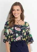 Blusa Floral Dark Quintess com Decote Quadrado