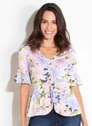 Blusa Floral Lilás Quintess com Franzido