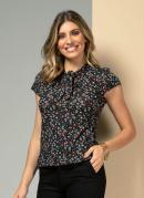 Blusa Floral Preto com Detalhe para Amarrar