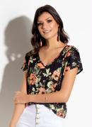 Blusa Floral Preto com Mangas Curtas
