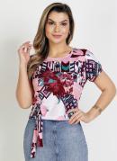 Blusa Floral Rosa com Amarração Moda Evangélica