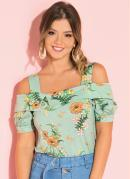 Blusa Floral Verde com Ombros Vazados