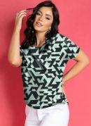 Blusa Geométrica Verde com Ombros Franzidos