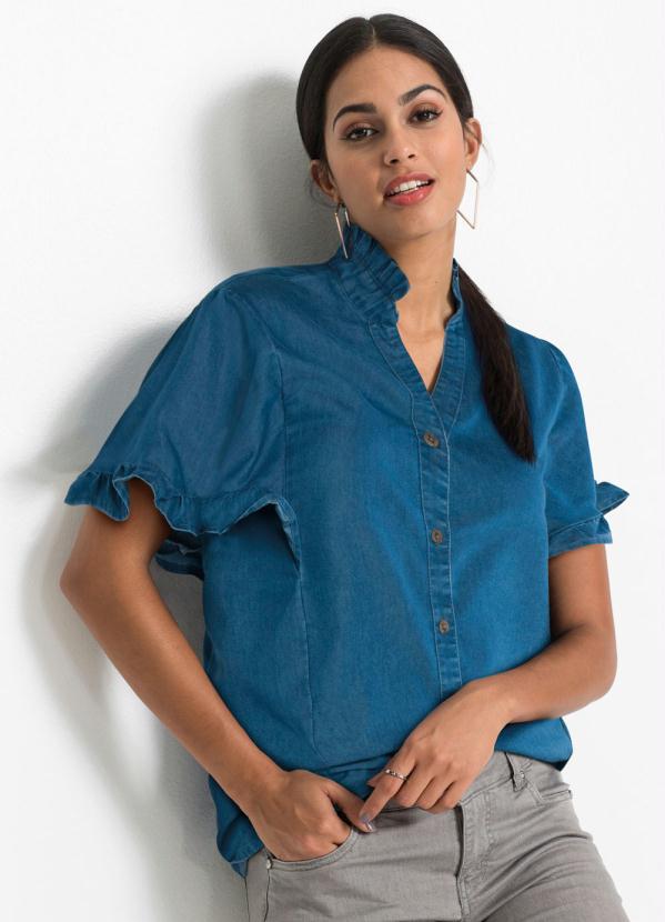 Blusa Jeans com Babados (Azul Médio)