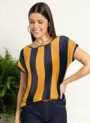 Blusa Listras Amarelo e Marinho com Mangas Curta