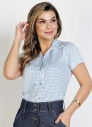 Blusa Litras Azul com Botões Moda Evangélica