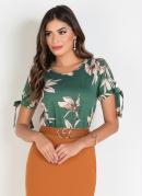 Blusa Moda Evangélica Floral Verde