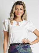 Blusa Off White com Fivela Moda Evangélica