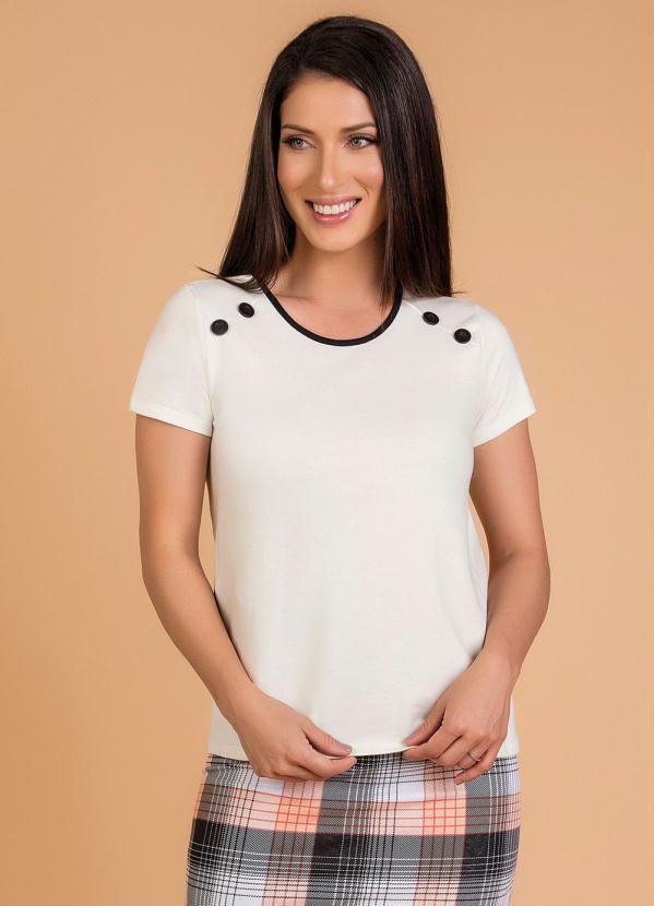 Blusa (Off White) Moda Evangélica com Botões