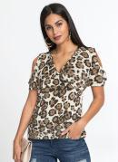 Blusa Ombros Vazados Animal Print Onça Marrom