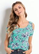 Blusa Ombros Vazados Floral Turquesa Quintess