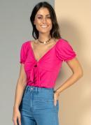 Blusa Pink com Amarração no Decote