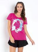 Blusa Pink com Estampa na Frente e Mangas