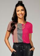 Blusa Pink e Rosê com Recorte Frontal