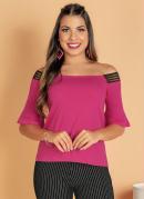 Blusa Pink Ombro a Ombro com Elástico Decorativo