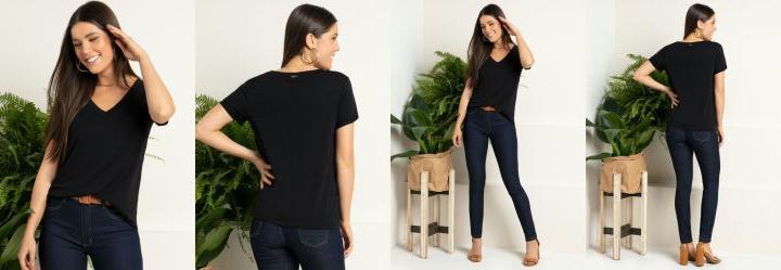 Blusa Preta com Decote V e Bolso Frontal