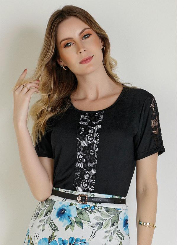 Blusa (Preta) com Detalhes em Renda Moda Evngélica