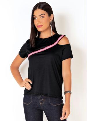 Blusa (Preta) com Ombro Vazado e Detalhe no Decote