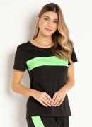 Blusa Preta e Verde Neon com Recorte Frontal