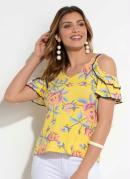 Blusa Quintess Floral Amarelo com Babados