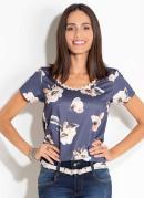 Blusa Quintess Floral Marinho Detalhe no Decote