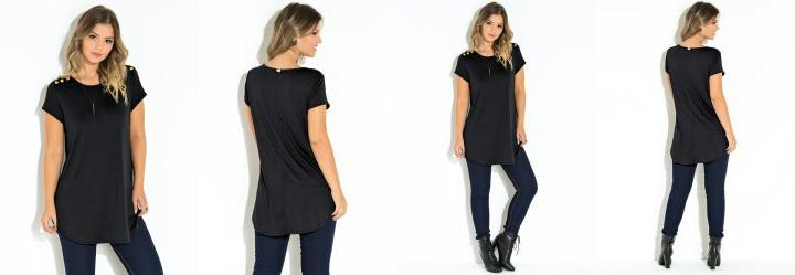 Blusa Quintess Preto Recorte Central nas Costas