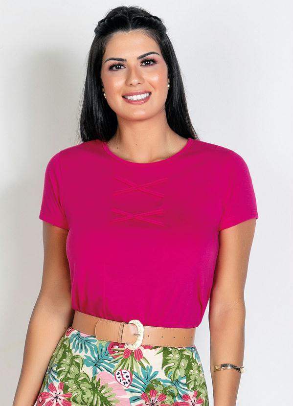 Blusa (Rosa) com Recorte Frontal Moda Evangélica