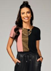 Blusa Rosa e Preto com Recorte Frontal