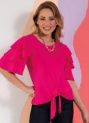 Blusa Rosa Soltinha com Babados e Amarração