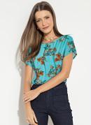 Blusa Soltinha Floral Listrado com Mangas Curtas