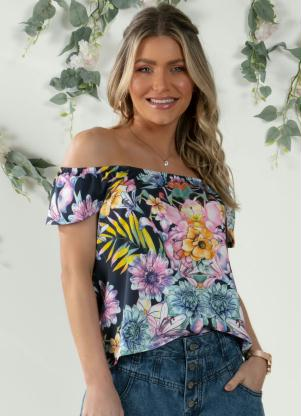 Blusa Soltinha (Floral Marinho) com Manguinhas