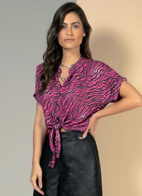Blusa (Tigre Pink) com Amarração Frontal