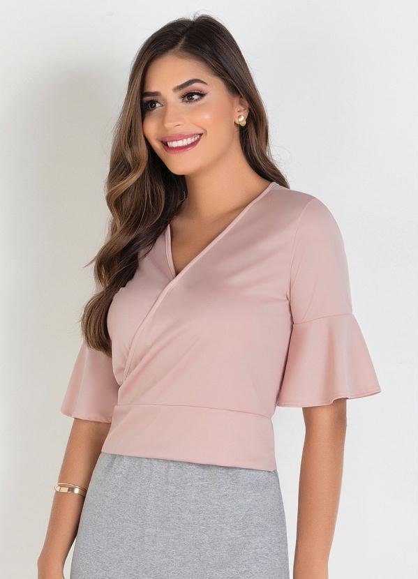 Blusa Transpassada (Rosa Claro) Moda Evangélica