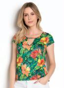Blusa Tropical com Gota no Decote