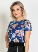 Blusa Vazado no Decote Floral Moda Evangélica