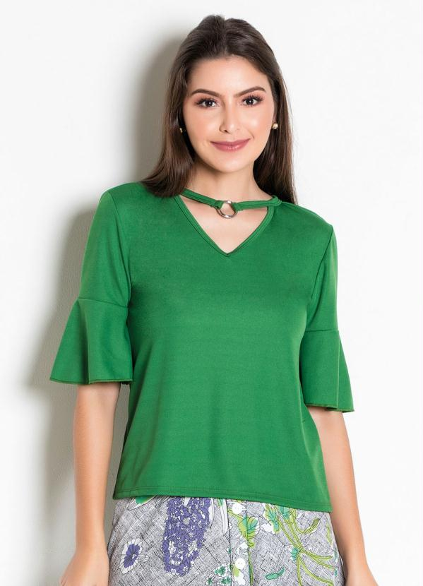 Blusa (Verde) com Argola no Decote Moda Evangélica