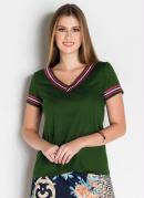 Blusa Verde com Faixa Moda Evangélica