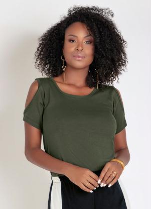 Blusa (Verde Militar) com Recortes nos Ombros
