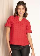 Blusa Vermelha com Babadinhos no Decote