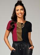 Blusa Vermelho e Preto com Recorte Frontal