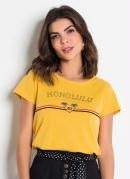 T-Shirt Amarela com Estampa Frontal