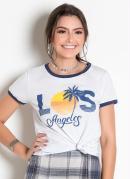 T-Shirt Bicolor Branca e Azul com Estampa