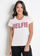 T-Shirt Branca com Estampa Frontal Neon